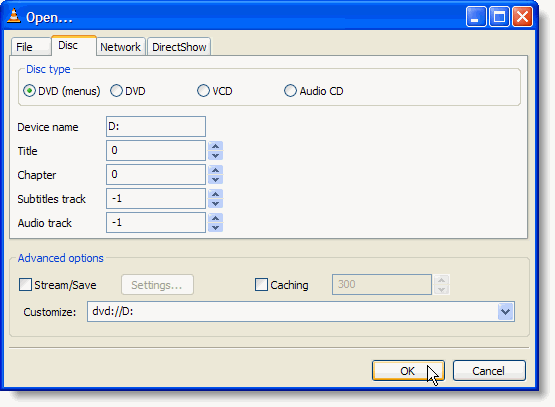 open disc dialog box